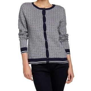 Susina NEW Blue White Women's Size Small S Cardigan Printed Button Sweater