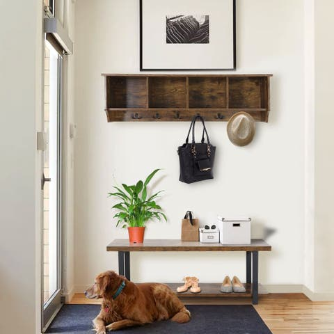 Veikous Entryway Hall Tree with Shoe Storage Bench & Coat Rack and Wall Mounted Hanging Shelf
