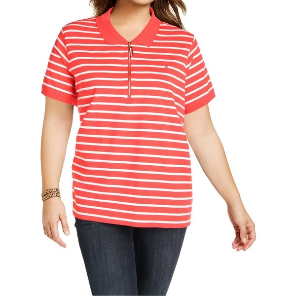 dd2c98866a2 Shop Tommy Hilfiger Womens Plus Polo Top Zip Front Striped - Free Shipping  On Orders Over  45 - Overstock.com - 21868632