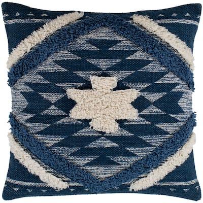 "Katherine Denim & Cream Boho Shag Throw Pillow Cover (18"" x 18"")"