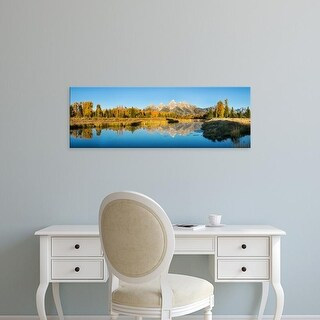 Easy Art Prints Panoramic Image 'Mountains, Snake River, Oxbow Bend, Grand Teton National Park, Wyoming' Canvas Art