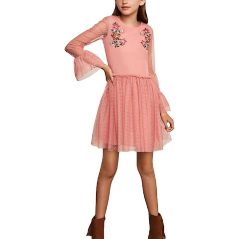 BCBGirls Girls Party Dress Floral - Rose Bud