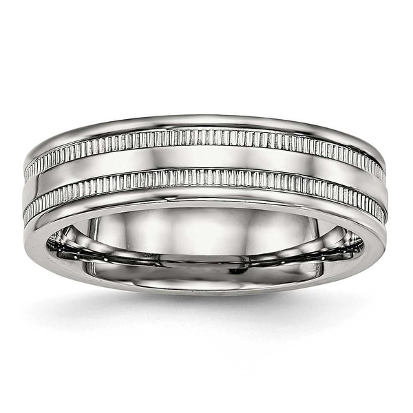 Stainless Steel Polished Grooved 6 mm Band Ring - Sizes 6 - 13