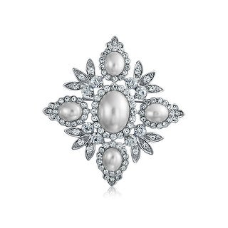Bling Jewelry Crystal Leaf White Imitation Pearl Brooch Pin Rhodium Plated
