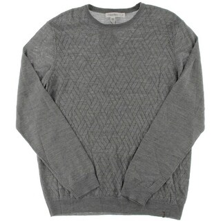 Calvin Klein Mens Crewneck Sweater Merino Wool Blend Pattern