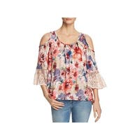 Cupio Womens Pullover Top Cold Shoulder Floral Print