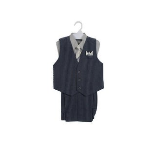 Paperio Boys Vest Pinstripe Set with Stripe Long Tie, Shirt, Pants Gray