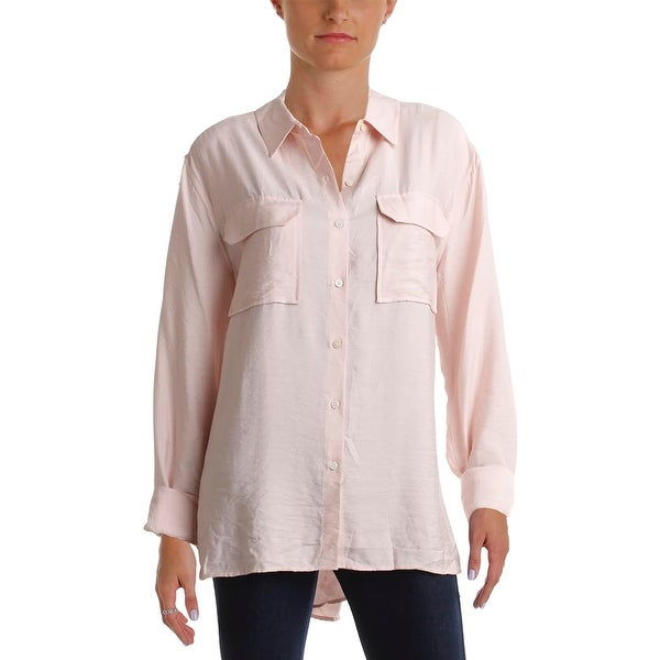 a605b6d2 Shop Two by Vince Camuto Womens Button-Down Top Oversized Long ...