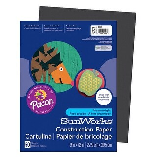 SunWorks Heavyweight Construction Paper, 9 x 12 Inches, Black, Pack of 50