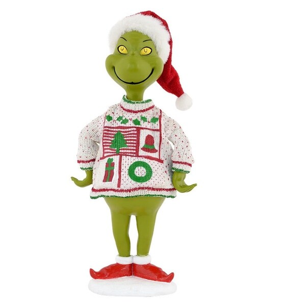 "Department 56 Dr. Seuss The Grinch ""Ugly Sweater Collection"" Christmas Figurine #4040597"