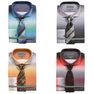 Men's Slim Fit Ombre Fancy Dress Shirt with Tie