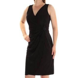 AMERICAN LIVING $79 Womens New 1282 Black Embellished Sheath Dress 8 B+B