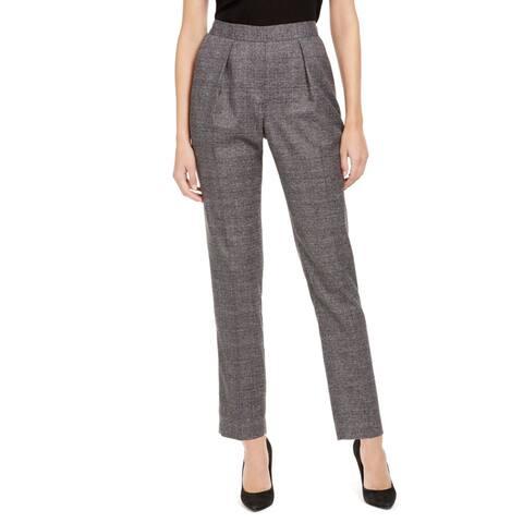 Anne Klein Womens Suit Pants Plaid Pleated - Anne Black Combo