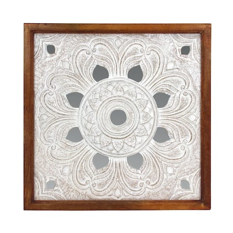 "Brewster FWAX8791A Habitat Beret 38"" MDF Decorative Mirrored Wall Medallion Panel - White / Off White"