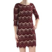 80ad0893bb95 JESSICA HOWARD Womens Burgundy Frayed Lace 3/4 Sleeve Jewel Neck Mini Shift  Cocktail Dress