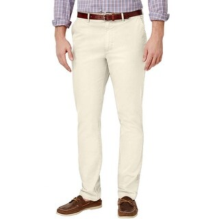 Club Room Slim Sand Villa Tan Solid Stretch Tapered Chinos Pants 38/32