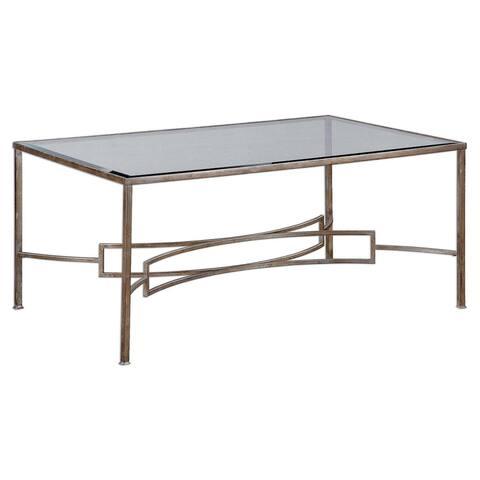 """Uttermost 24634 Eilinora 20"""" x 44"""" Coffee Table - Silver Leaf"""
