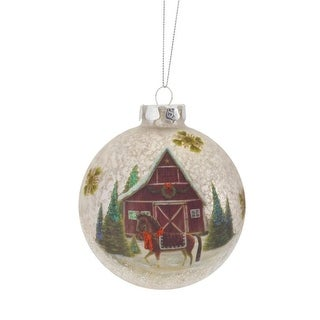 Set of 6 Delightful and Elegant Glass Barn and Horse Ornaments 4D