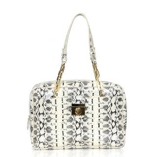 Versace Reptile Pattern Leather Satchel Handbag - White - S