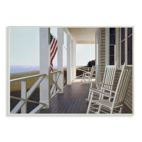 Stupell Industries Americana Rocking Chair Cape Porch Realistic Painting Wood Wall Art - Multi-Color