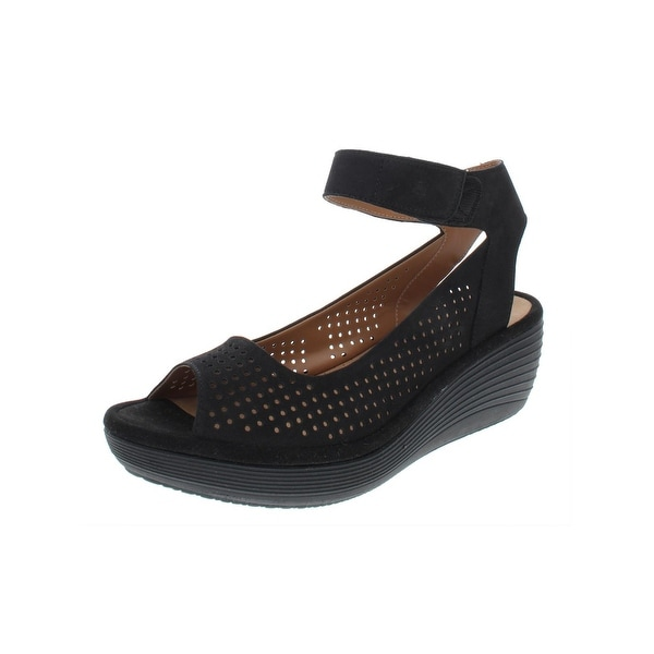 b4d4ddd7e Shop Clarks Womens Reedly Salene Wedge Sandals Nubuck Perforated ...