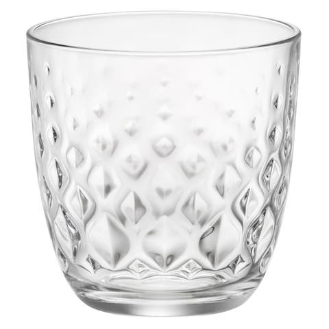 Bormioli Rocco Glit Dimpled Diamond Heavy Base Glass Tumbler 10 Oz - Set of 6 - Clear
