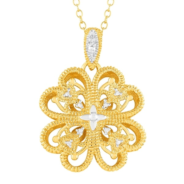 Flower Filigree Pendant with Diamond in 18K Gold-Plated Sterling Silver