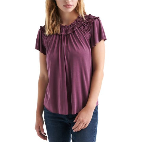 Lucky Brand Womens Smocked Pullover Blouse, purple, X-Large