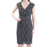 AMERICAN LIVING Womens Black Lace Floral Cap Sleeve V Neck Knee Length Sheath Wear To Work Dress  Size: 16