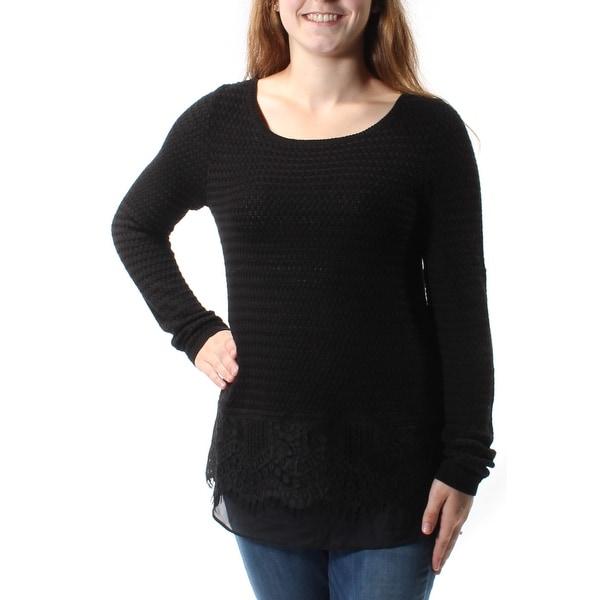 LUCKY BRAND Womens Black Embellished Frayed Long Sleeve Jewel Neck Sweater Size: M
