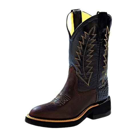 Old West Cowboy Boots Boys Leather Round Toe Crepe Sole Distress
