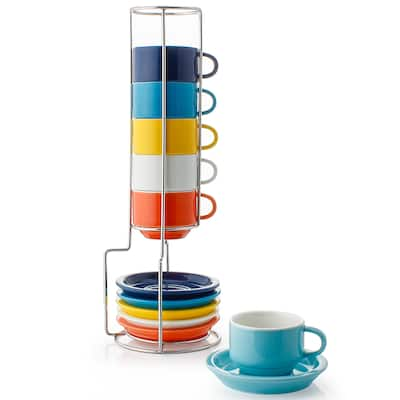 Sweese Porcelain Stackable Espresso Cups with Metal Stand,2.5 Ounce,Hot Assorted Color