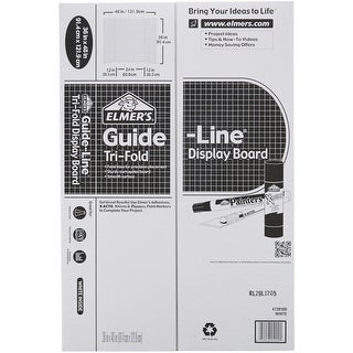 "Elmer's Tri-Board Self-Standing Project Display Board 36""X48-White W/Guidelines Box=18, Srp $7.39Ea"