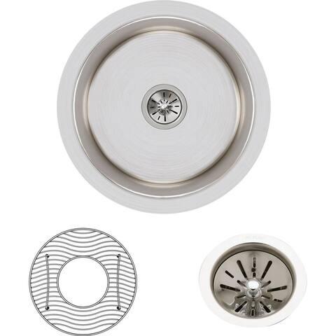 "Elkay Lustertone Classic Stainless Steel 14-3/8"" x 14-3/8"" x 6"", Single Bowl Undermount Sink Kit"