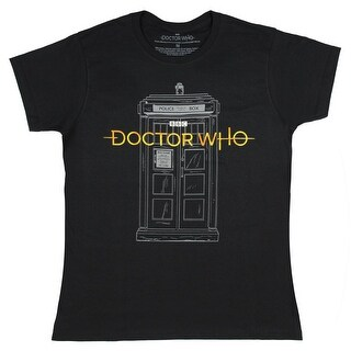Doctor Who Women's New Logo With Sketch Tardis T-Shirt