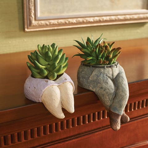 Art & Artifact He & She Planters - Decorative Figural Man & Woman Shelf Sitter Flower Pots