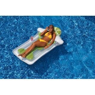 "76"" Green and White Novelty Margarita Matt Inflatable Swimming Pool Floating Raft"