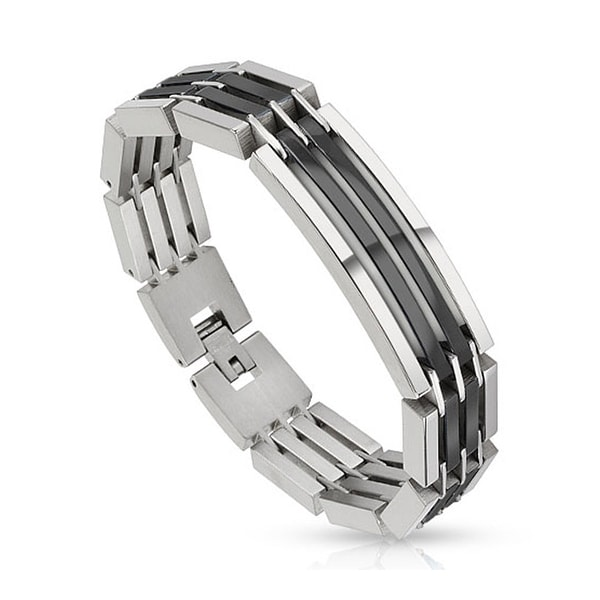 Dual Toned Crescent Center Link Black IP Segmented Stainless Steel Bracelet (14 mm) - 8.5 in