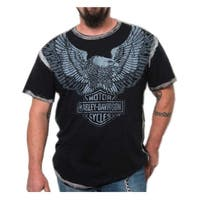 Harley-Davidson Men's Upswept Eagle Premium Short Sleeve Tee, Grease Black