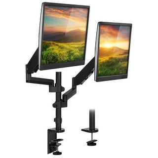 "Mount-It! Stackable Dual Monitor Desk Mount, Height Adjustable VESA 75 & 100 Vertical Monitor Stand for Screens 19"" - 32"""