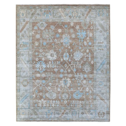 """Shahbanu Rugs Hand Knotted Extra Soft Pure Wool Oushak Mocha Brown with Floral Motifs Oriental Rug (7'9"""" x 9'7"""") - 7'9"""" x 9'7"""""""