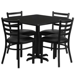 "Dyersburg 5pcs Table Set Square 36"" Black X-Base, Black Metal Chairs"