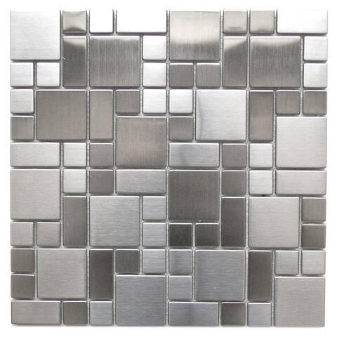 Modern Cobble Steel Metal Tile 11.8x11.8 (11 tiles/10.63 Sqft)