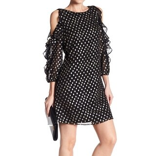 Eliza J Black Womens Size 12 Cold-Shoulder Ruffle Sheath Dress