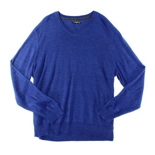 Club Room NEW Blue Mens Size Medium M V-Neck Ribbed-Knit Wool Sweater
