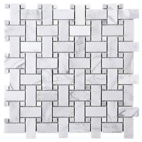 "TileGen. 1"" x 2"" Basket Weave White Carrarra Marble Mosaic Tile in White Floor and Wall Tile (10 sheets/9.6sqft.)"