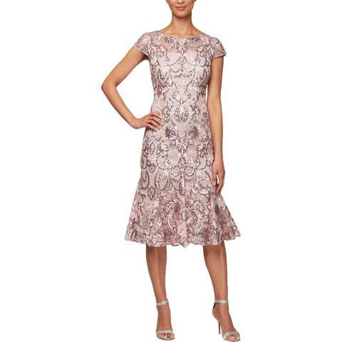 Alex Evenings Womens Cocktail Dress Sequined Knee-Length - Blossom - 12