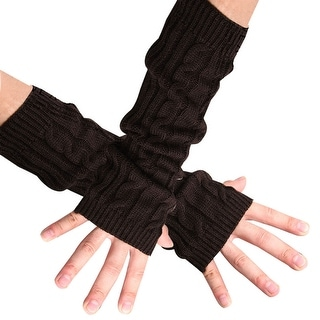 Unique Bargains Coffee Color Fingerless Knitted Arm Warmers Thick Gloves for Men