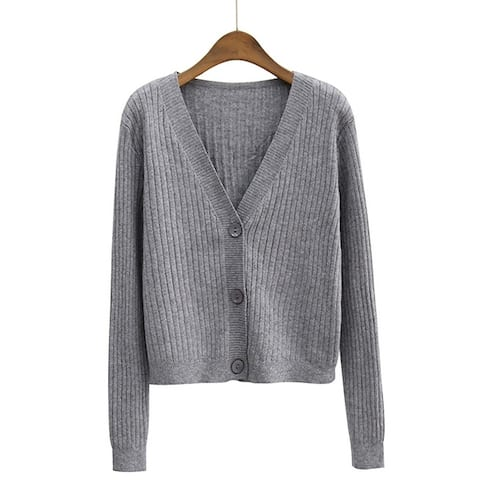 Women Autumn Winter V Neck Long Sleeve Cardigan Buttons Knitted Coat Sweater