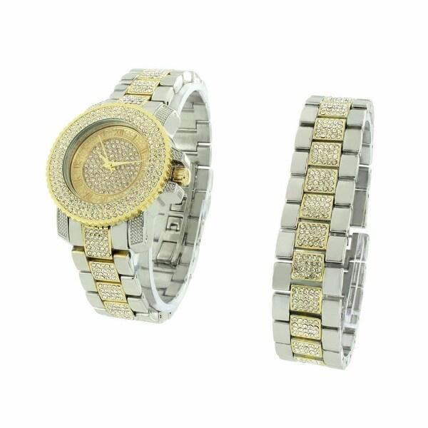 Womens Watch & Bracelet Set 2 Tone Gold & Silver Finish  Ice Out Lab Diamonds Classy